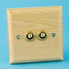 Varilight Kilnwood 2 Gang 1 or 2 Way 10A Dolly Toggle Switch Ash Finish XKT2A